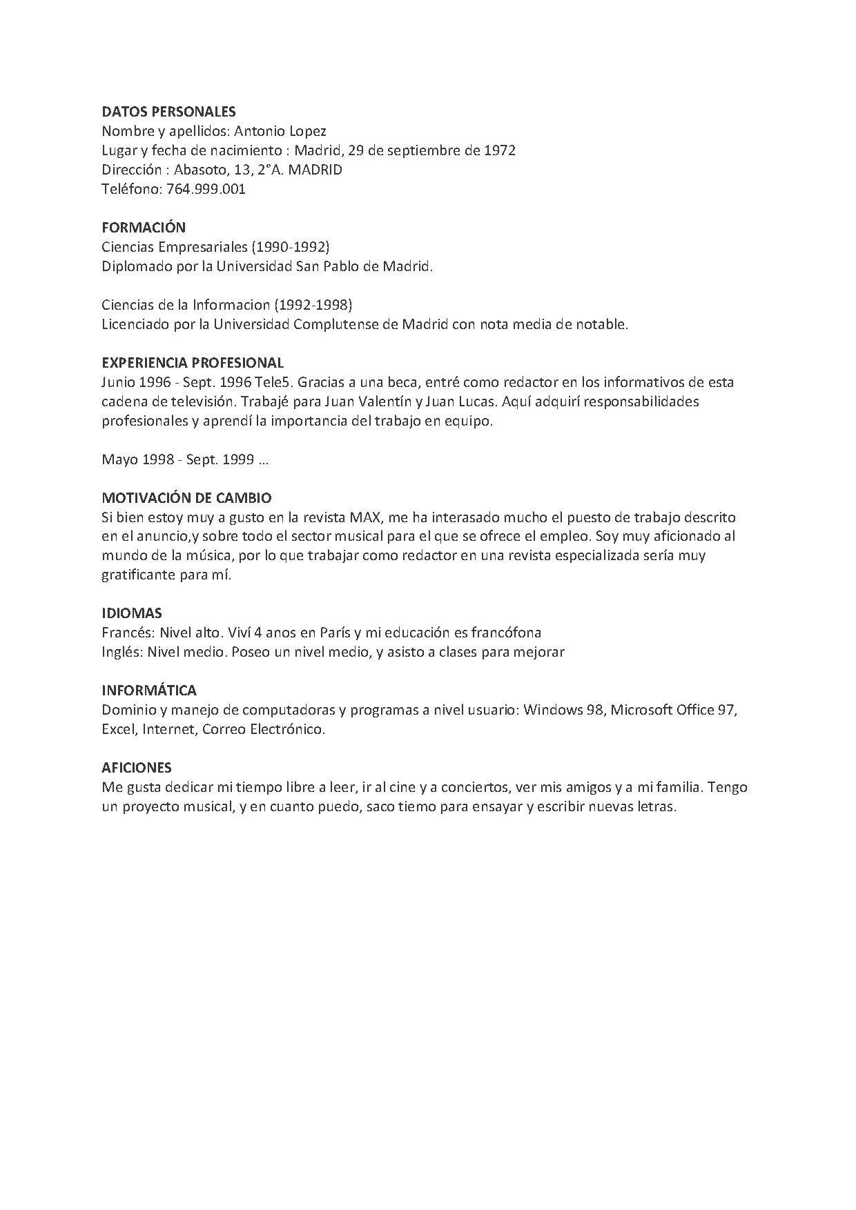 Currículum Vitae –Spanischer Lebenslauf