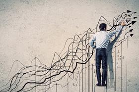 Geschäftsmann, Grafik, Aufstieg, Wachstum