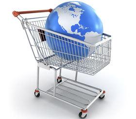 Konsumgüter Einkaufswagen Weltkugel