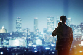 Businessman, Skyline, Telefon